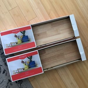 Opalhouse Wall Art - Brand New in Box Set of 2 Wood & Gold Wall Shelves